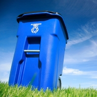 A Blue Trash Can